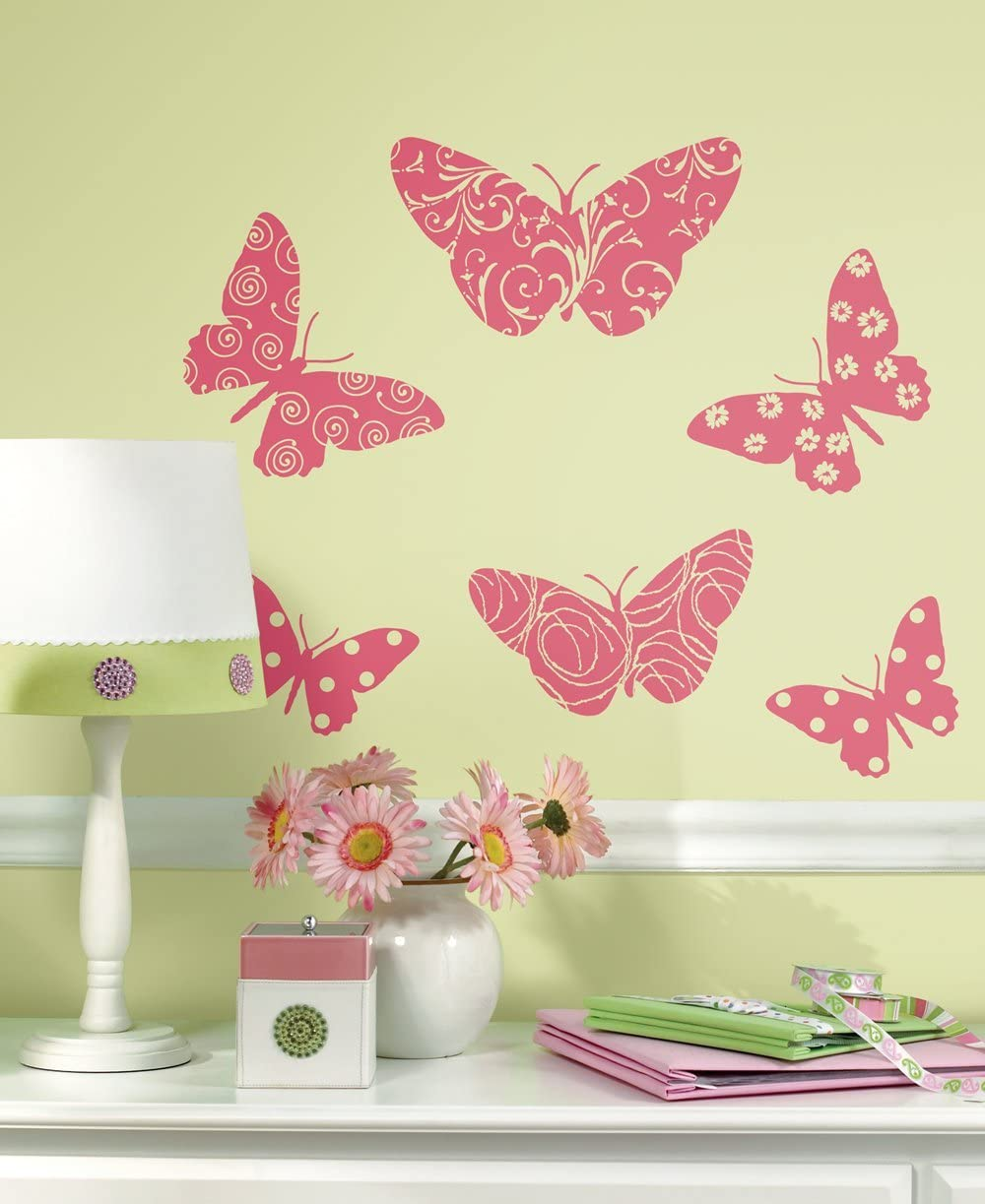 Roommates Butterfly Decals Flock Wall Decals